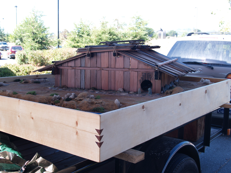 Large Scale Model Redwood Plank House on native american longhouse project, native american chickee project, native american cherokee indian school project,